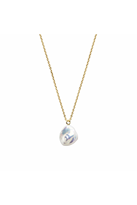 9kt Yellow Gold & White Pearl Mermaia Keshi Fine Chain Necklace