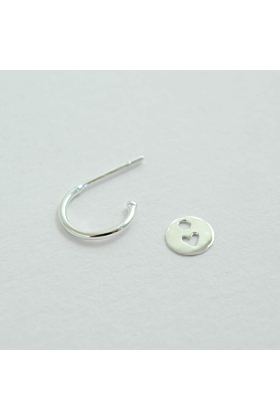 Sterling Silver Total Eclipse Heart Hoop Earrings