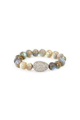Sterling Silver Labradorite Beads Diamond Egg Bracelet