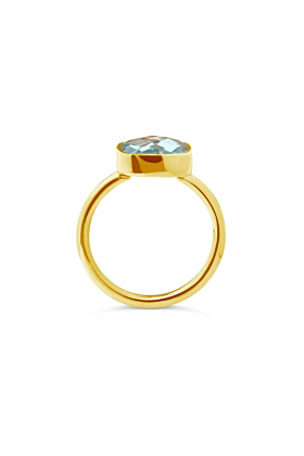 Blue Topaz Cocktail Ring in Yellow Gold