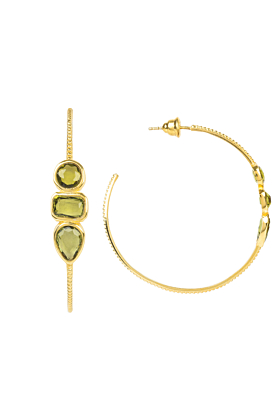 Yellow Gold Plated Venice Gemstone Hoop Earrings with Peridot