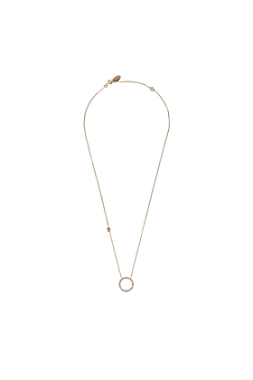 Rose Gold Plated Sparkling Halo Circle Necklace