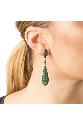 Yellow Gold Plated Coco Long Drop Earrings With Green CZ