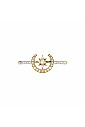 14kt Yellow Gold Plated Crescent North Star Ring