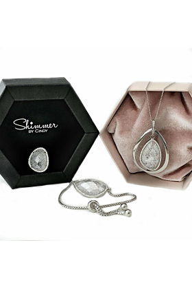 Rhodium Plated Abstract Halo Necklace With White CZ Stone