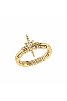 14kt Yellow Gold Plated North Star Detachable Ring
