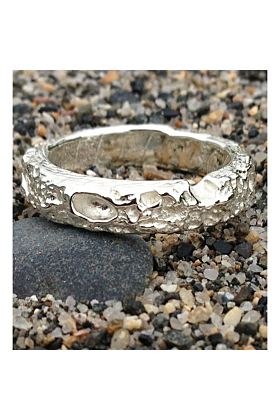 Cornish Beach Sand Textured 9kt White Gold Wedding Ring