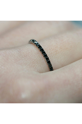 Black Diamond Full Eternity Ring In 18kt White Gold