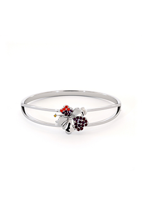 Hibiscus Bangle with Garnet, Red Onyx and Citrine