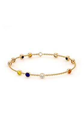 Multi-Coloured Cubic Zirconia Jamaican Bracelet