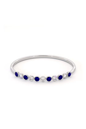 Blue & White Cubic Zirconia Jamaican Bangle