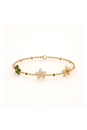Garland Bracelet with Cubic Zirconia and Peridot