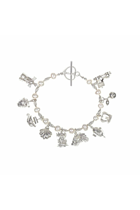Pearl & Silver Bracelet with 10 Silver Magical Charms
