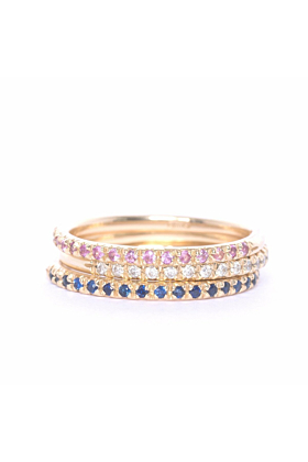 Gold & Pink Sapphire Demi Pointe Ring