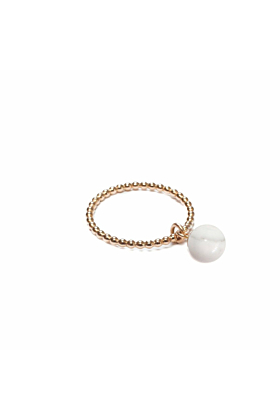 14kt Yellow Gold Plated & Marble Pearl Orb Ring
