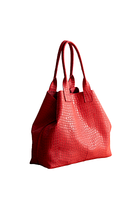 Red crocodile embossed leather tote bag designed by Juan-jo