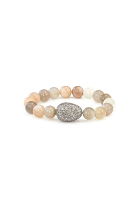 Sterling Silver Grey & Brown Moonstone Diamond Egg Bracelet