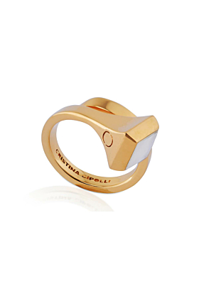 Gold Vermeil Amazon Ring With Rainbow Moonstone