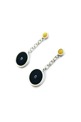 Sterling Silver & Leather Circle Earrings - Black & Yellow