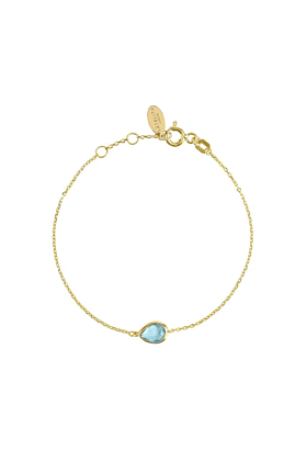 Pisa Mini Teardrop Bracelet Gold Blue Topaz