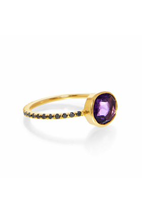 Clea Amethyst and Black Diamond Ring