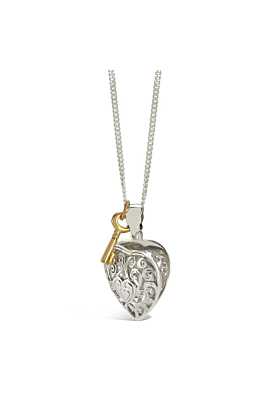 Sterling Silver Key Heart Locket Necklace in Yellow Gold