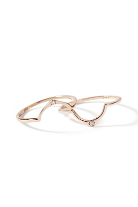 9kt Rose Gold Wishbone Diamond Ring