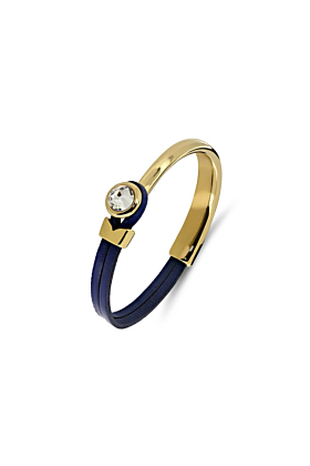 Poppy Navy & Gold Leather Bracelet
