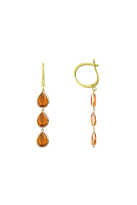 Sorrento Triple Drop Earrings Gold Citrine