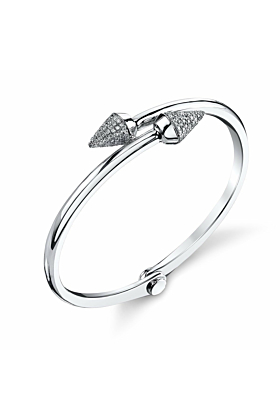 Small Spike Handcuff in White Gold and Pave Diamonds