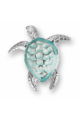 Silver Sea Turtle Green Brooch