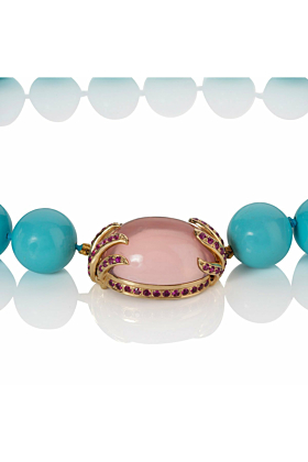 Turquoise Shell Bead Necklace With Rose Quartz & Pink Sapphire Clasp