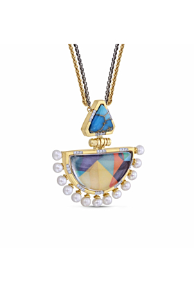 Yellow Gold Plated Silver Turquoise & Pearl My Colorful Legacy Diamond Necklace