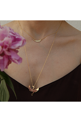 24kt Yellow Gold Plated Phoenix & Crane Necklace