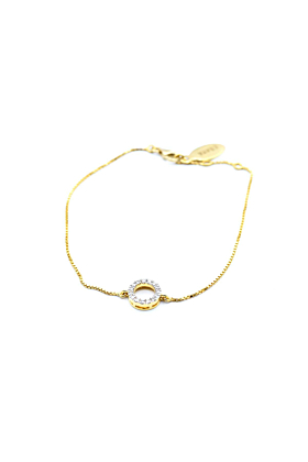 18kt Yellow Gold Sparkling Diamond Circle Bracelet