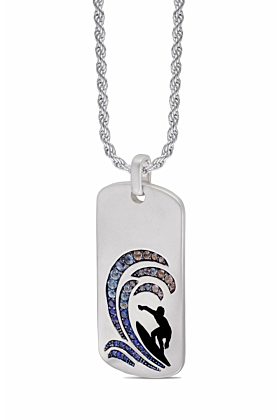 Rhodium Plated Silver White Topaz & Blue Sapphire Surfer's Paradise Tag