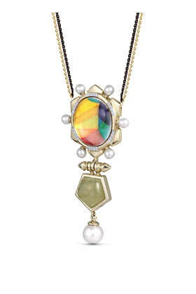Yellow Gold Plated Silver Prehnite & Pearl Gypsy Soul Diamond Necklace