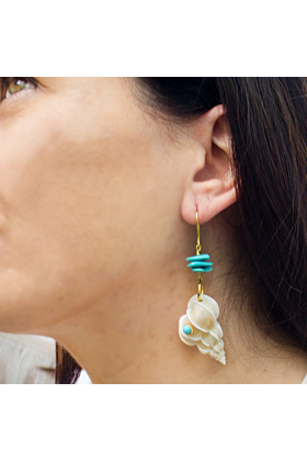 Turquoise & Wentletrap Shell Earrings
