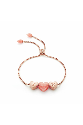 Luv Me Pink Rhodochrosite Adjustable Heart Bracelet
