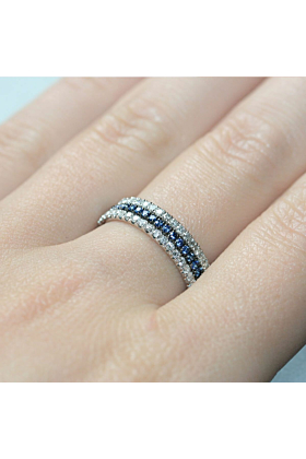 18kt White Gold Royal Blue 3-Ring Combination