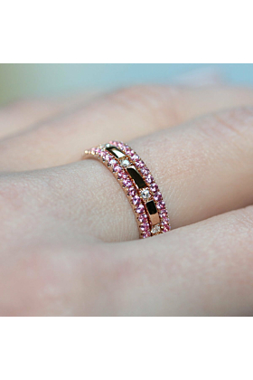 18kt Rose Gold Pink Sapphire & Diamond XX Combination Ring