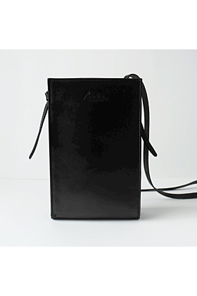 'MARS' Leather Crossbody Bag in Black