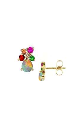 Yellow Gold Opal Multi-Gem Harlequin Earrings