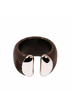 Samba Silver Ends Brown Stingray Leather Bangle
