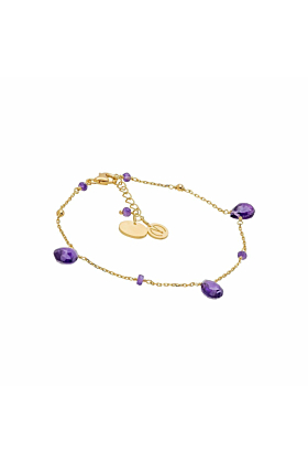 Yellow Gold Plated Silver & Cari Amethyst Bracelet