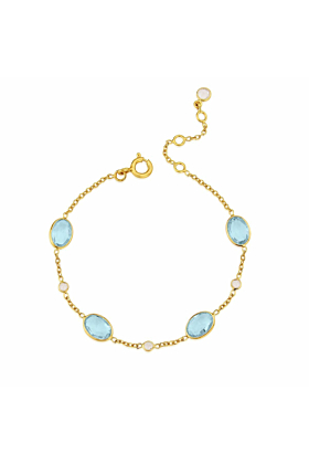 Yellow Gold Plated Cannes Blue Topaz Bracelet