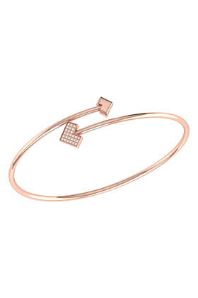 14kt Rose Gold Plated One Way Bangle