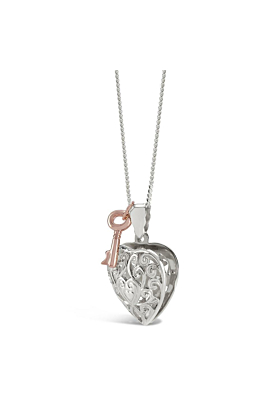 Sterling Silver Key Heart Locket Necklace in Rose Gold