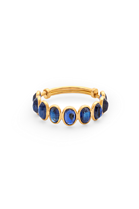 18kt Yellow Gold Gemstone Faceted Oval Stackable Band Ring