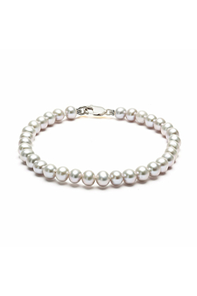 Sterling Silver & Grey Freshwater Pearl Classic Bracelet